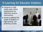 e learning for educator initiative