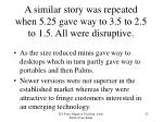 a similar story was repeated when 5 25 gave way to 3 5 to 2 5 to 1 5 all were disruptive