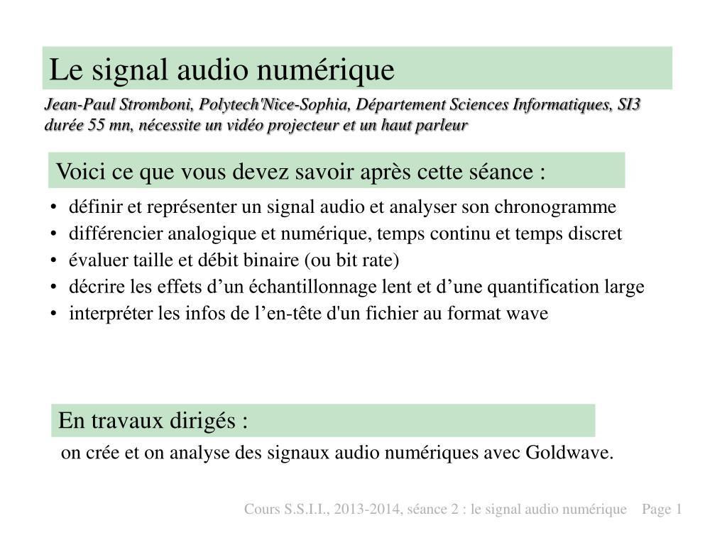 le signal audio num rique l.