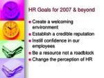 hr goals for 2007 beyond