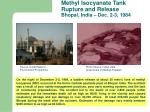 methyl isocyanate tank rupture and release bhopal india dec 2 3 1984