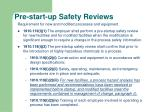 pre start up safety reviews