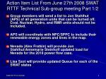action item list from june 27th 2008 swat rttf technical sub group meeting part 1 2