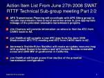 action item list from june 27th 2008 swat rttf technical sub group meeting part 2 2