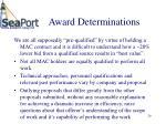 award determinations