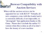 browser compatibility with auction services