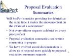 proposal evaluation summaries
