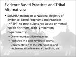 evidence based practices and tribal alternatives