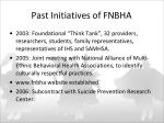 past initiatives of fnbha
