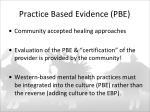 practice based evidence pbe