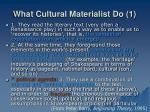 what cultural materialist do 1