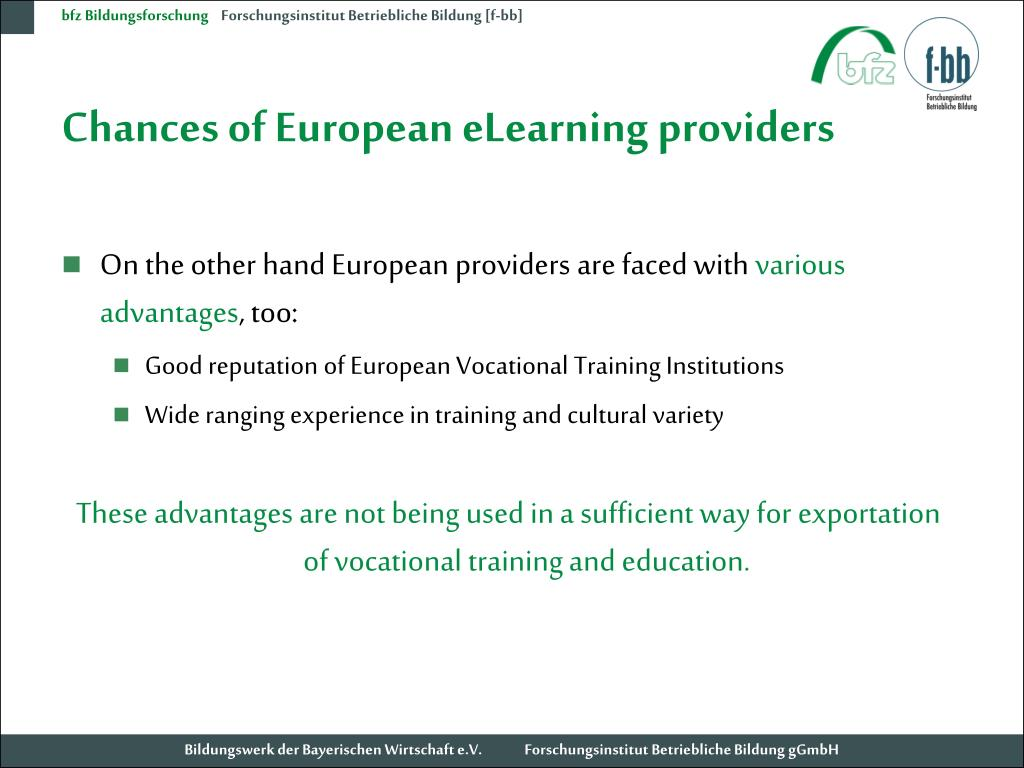Chances of European eLearning providers