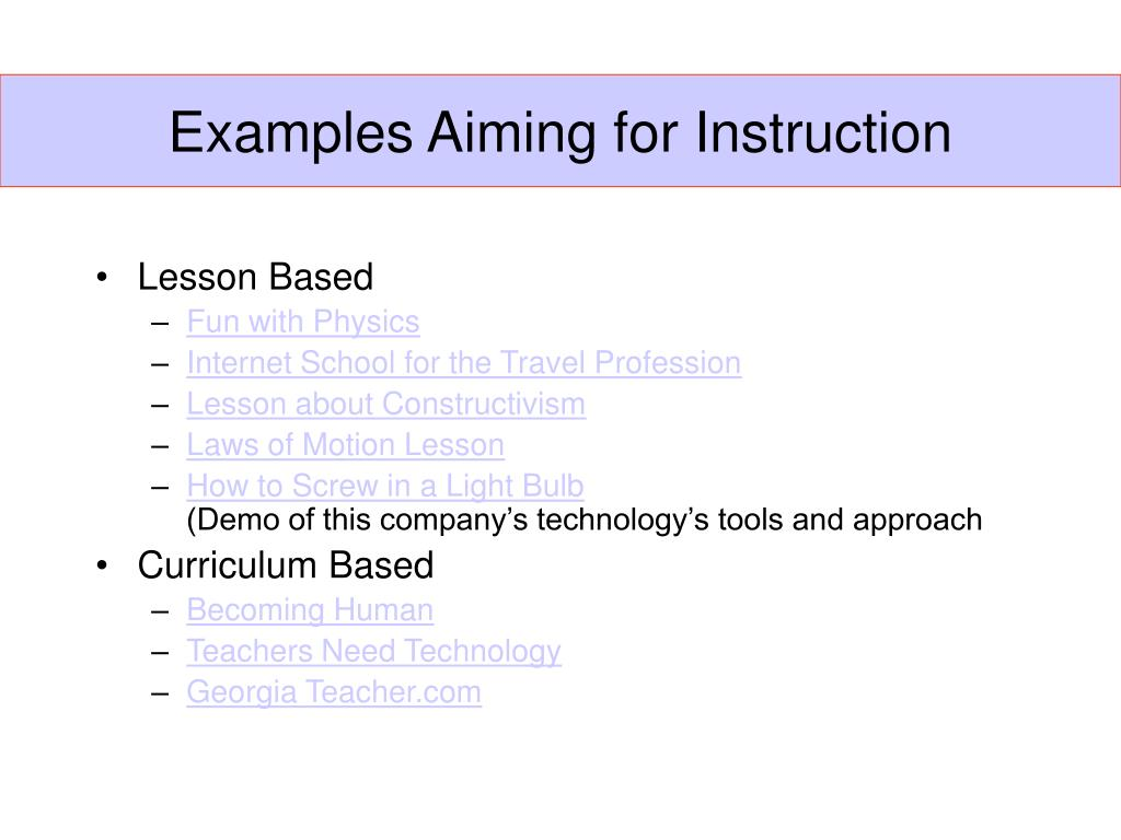 Examples Aiming for Instruction