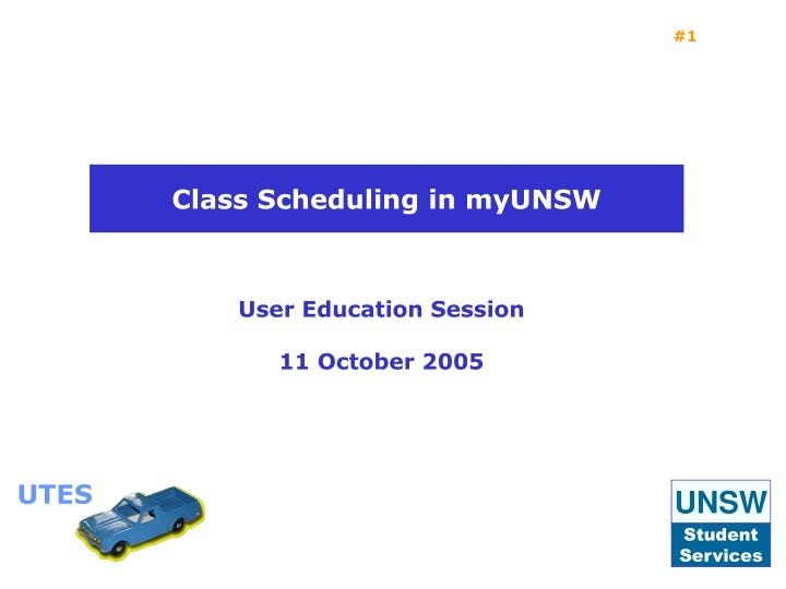 User education session 11 october 2005
