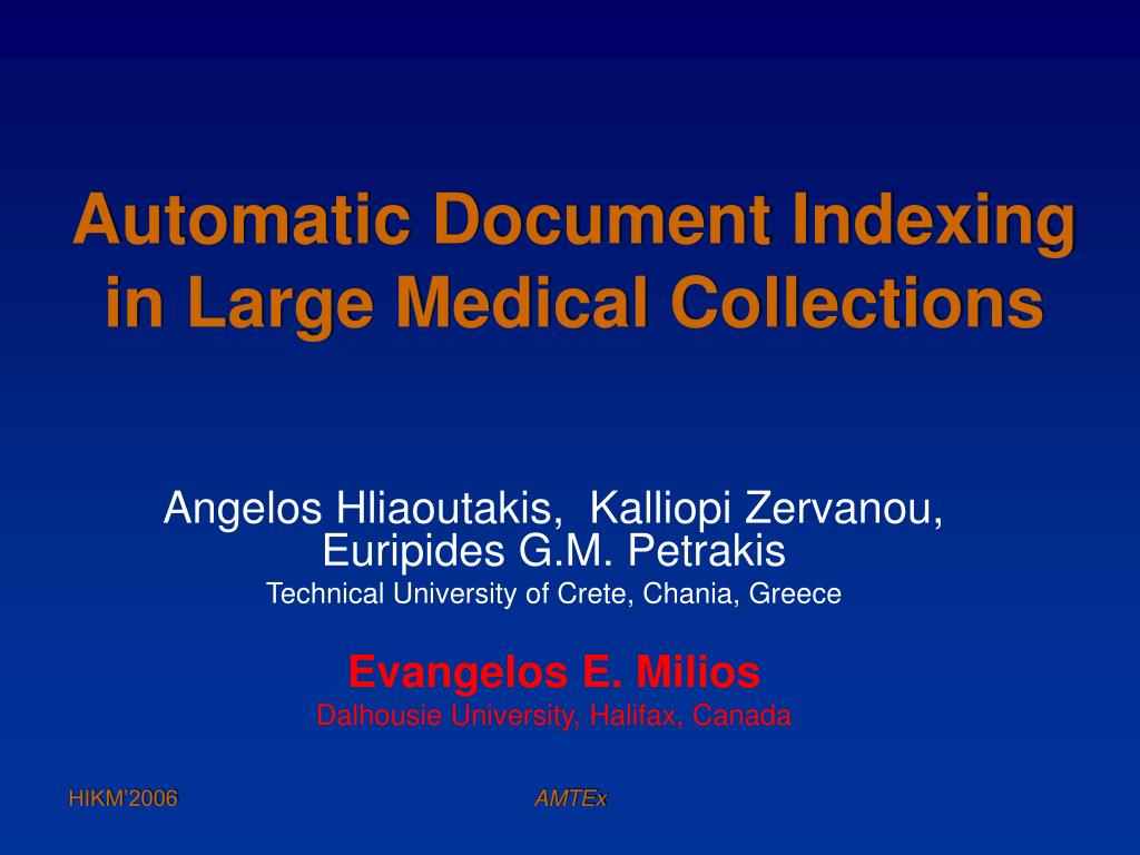 automatic document indexing in large medical collections l.