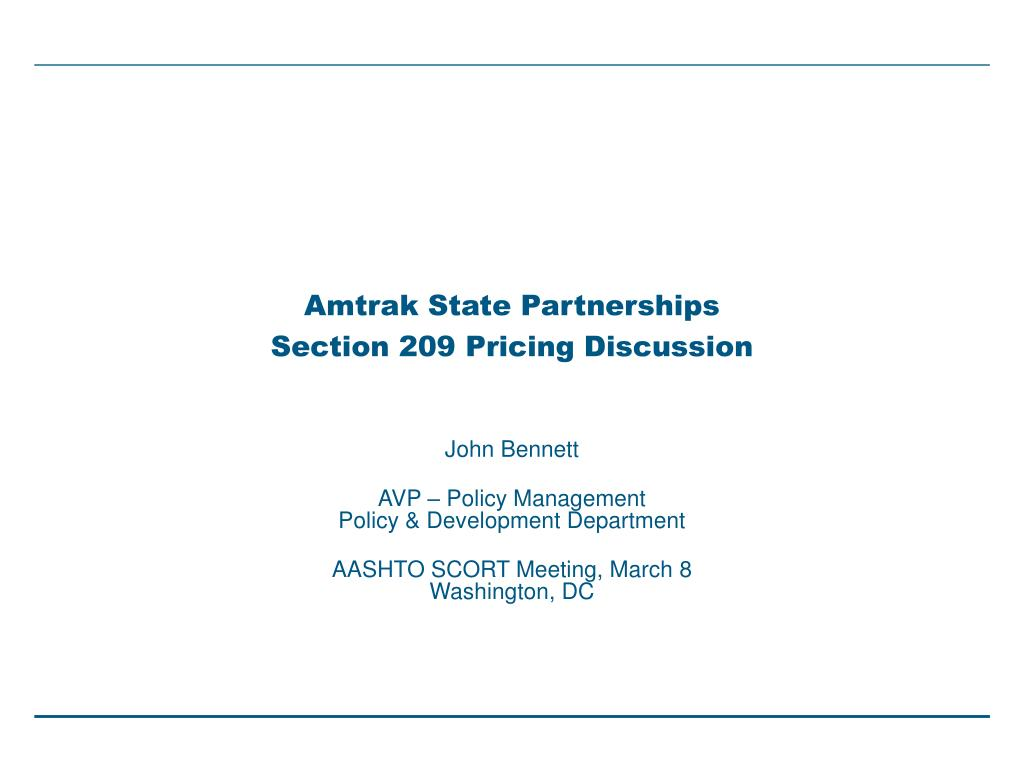amtrak state partnerships section 209 pricing discussion l.
