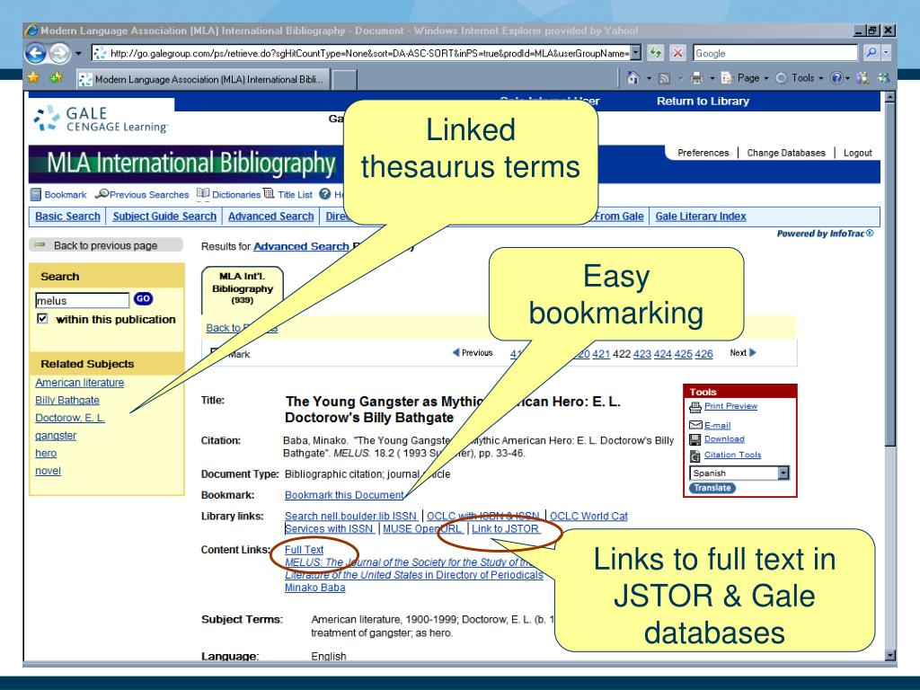 Linked thesaurus terms