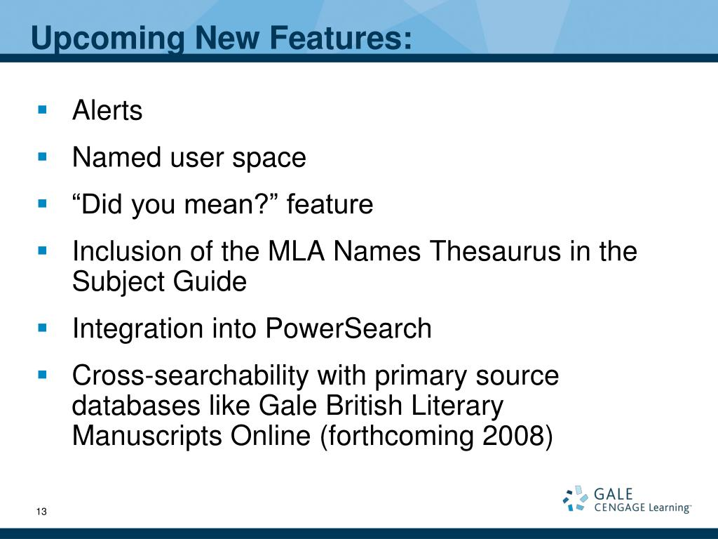 Upcoming New Features: