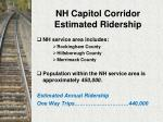 nh capitol corridor estimated ridership