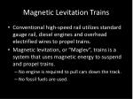 magnetic levitation trains