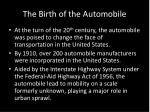 the birth of the automobile