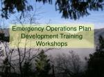 emergency operations plan development training workshops