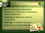 radiological agents of concern