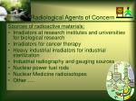radiological agents of concern27