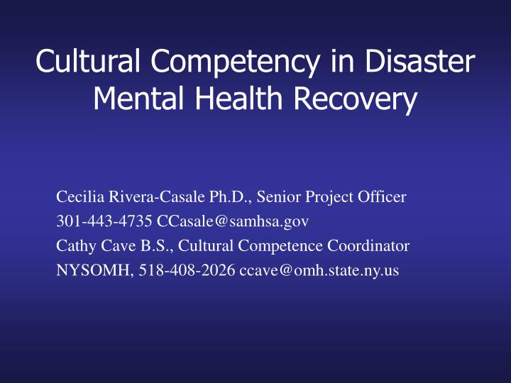 cultural competency in disaster mental health recovery n.