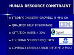 human resource constraint