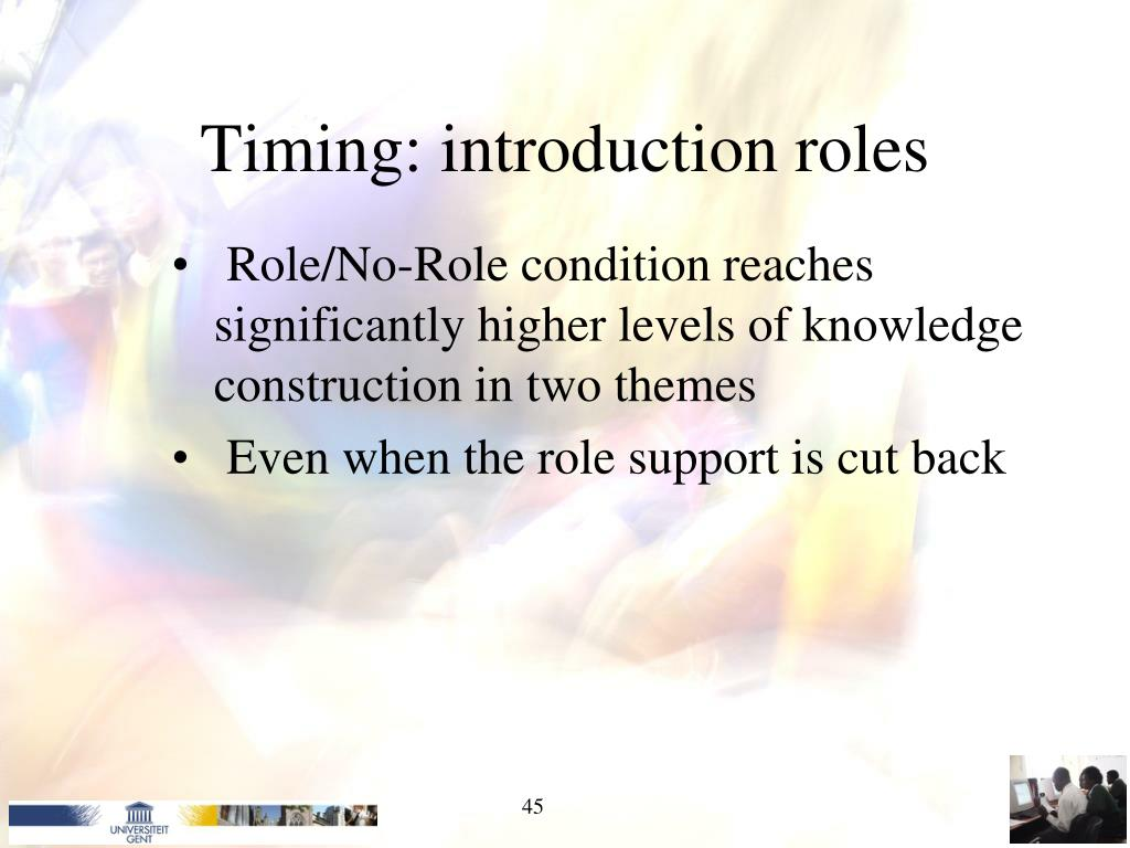 Timing: introduction roles