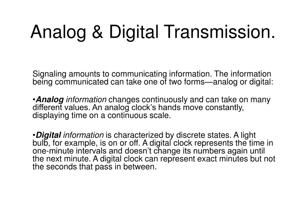 analog digital transmission l.