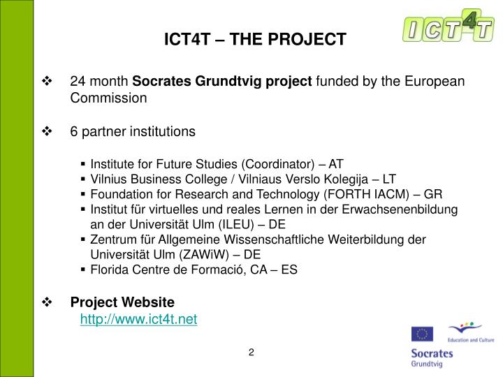 ICT4T – THE PROJECT