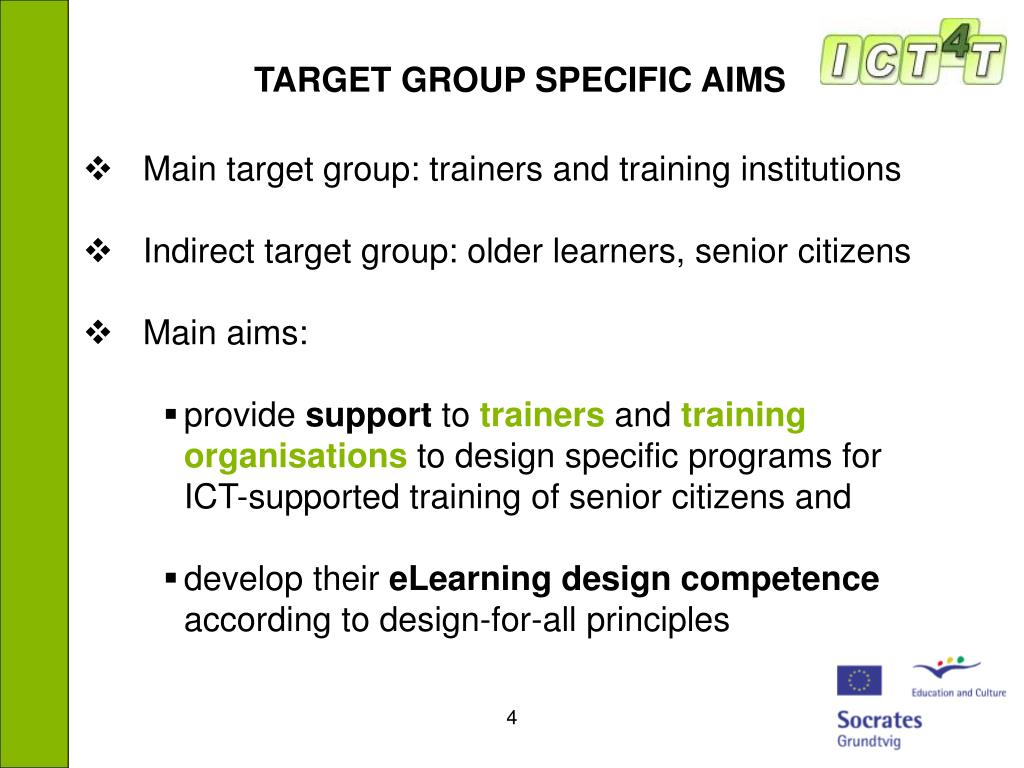 TARGET GROUP SPECIFIC AIMS