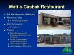 matt s casbah restaurant