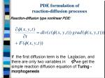 pde formulation of reaction diffusion processes