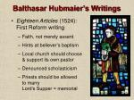 balthasar hubmaier s writings