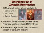 emergence out of zwingli s reformation