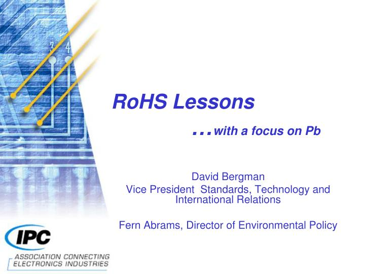 rohs lessons with a focus on pb n.