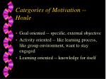 categories of motivation houle