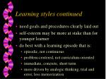 learning styles continued