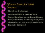 lifespan issues for adult learners