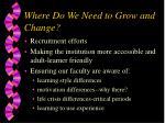 where do we need to grow and change