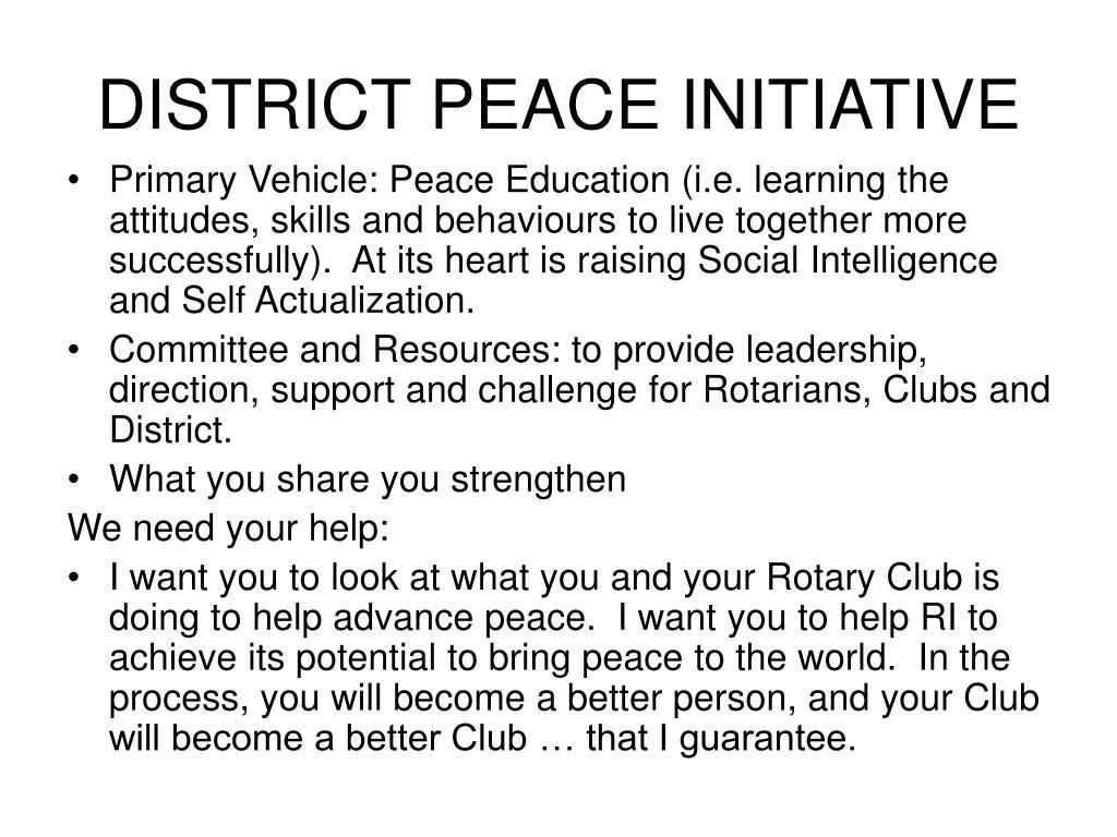 DISTRICT PEACE INITIATIVE