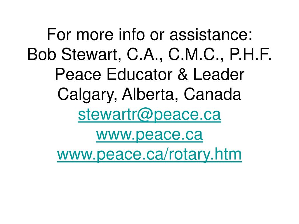 For more info or assistance: