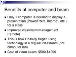 benefits of computer and beam