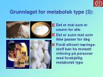 grunnlaget for metabolsk type 3