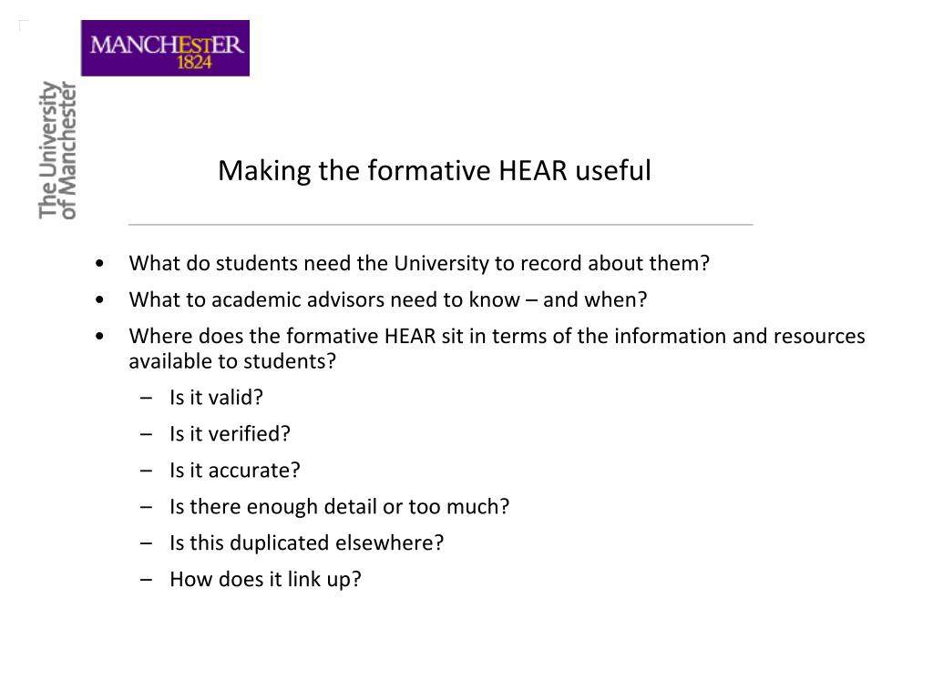 Making the formative HEAR useful