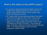 what is the status of the eopf project