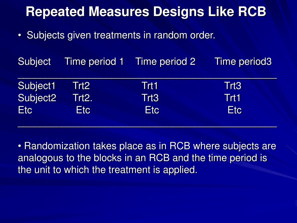 repeated measures designs like rcb l.